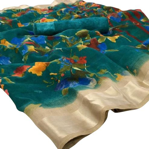 Mesmeric Teal Green Colored Casual Floral Printed Linen Saree