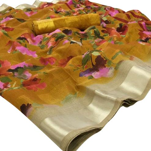 Demanding Golden Colored Casual Floral Printed Linen Saree