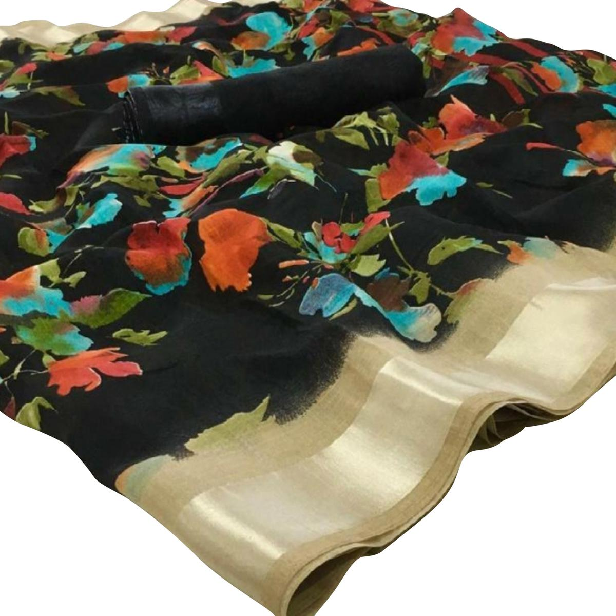 Refreshing Black Colored Casual Floral Printed Linen Saree
