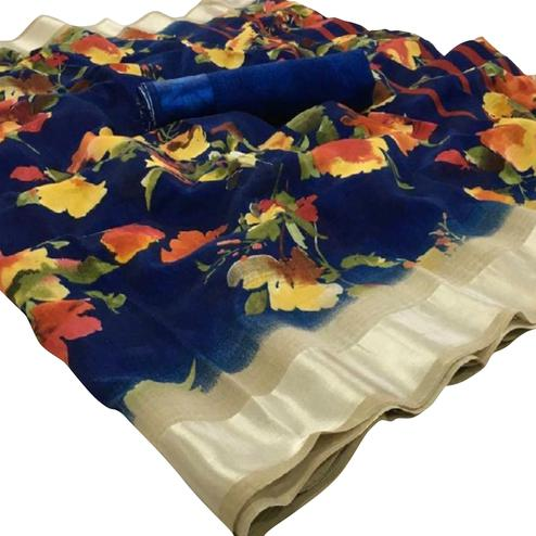 Hypnotic Navy Blue Colored Casual Floral Printed Linen Saree