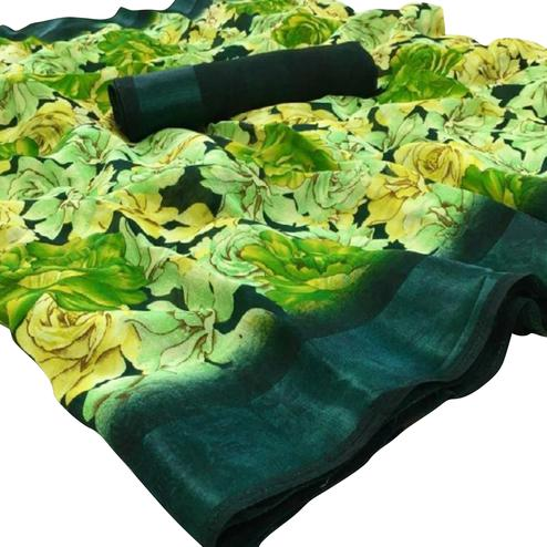 Flattering Green Colored Casual Floral Printed Linen Saree