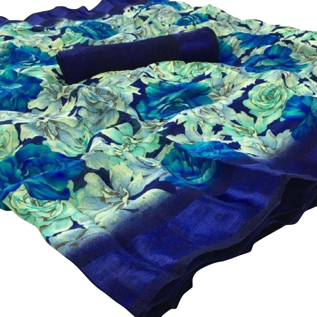Excellent Blue Colored Casual Floral Printed Linen Saree