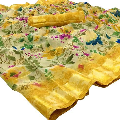 Marvellous Yellow Colored Casual Floral Printed Linen Saree