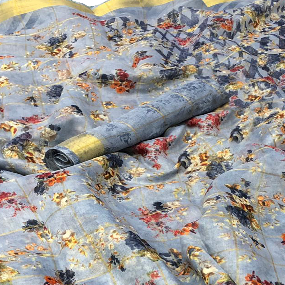 Gorgeous Grey Colored Casual Floral Printed Cotton Saree