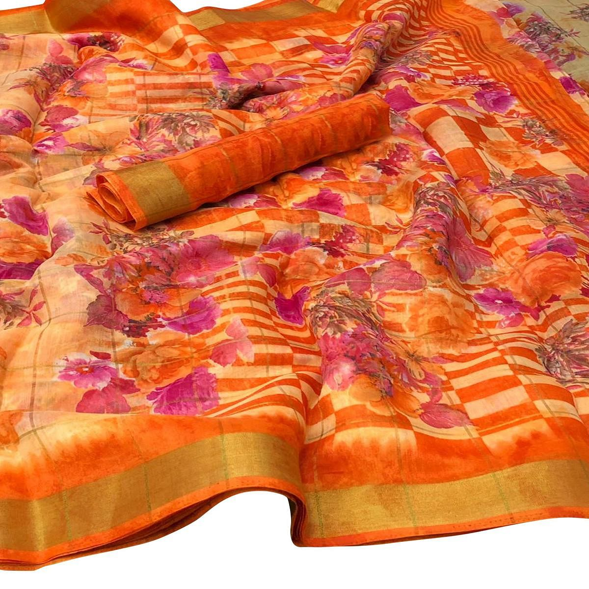 Blissful Orange Colored Casual Floral Printed Cotton Saree