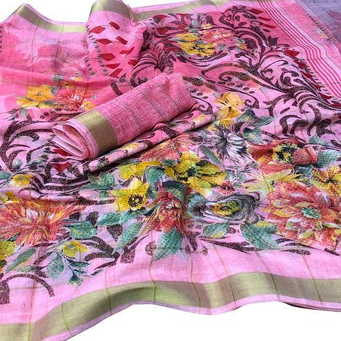 Ideal Pink Colored Casual Floral Printed Cotton Saree