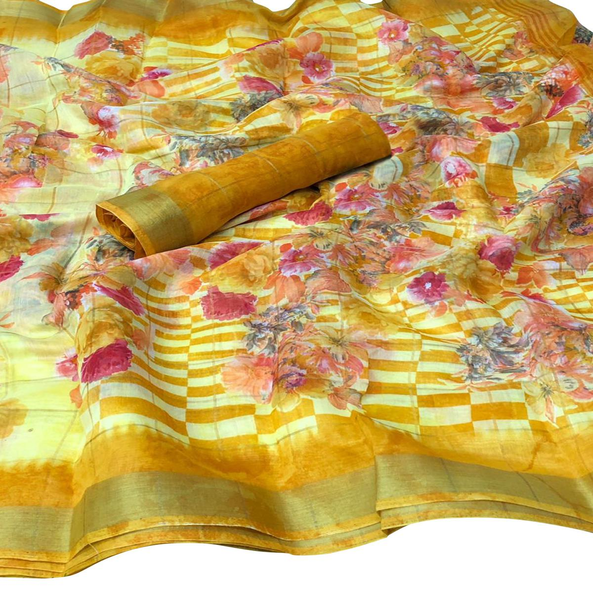 Imposing Yellow Colored Casual Floral Printed Cotton Saree