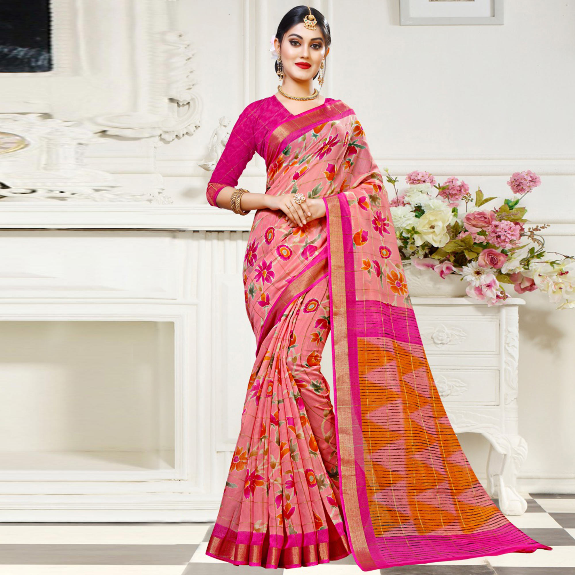 Lovely Pink Colored Casual Floral Printed Cotton Saree