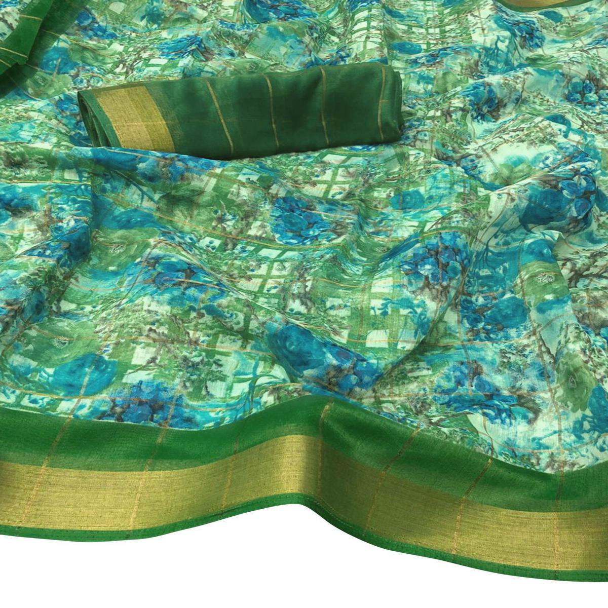 Classy Green Colored Casual Floral Printed Cotton Saree
