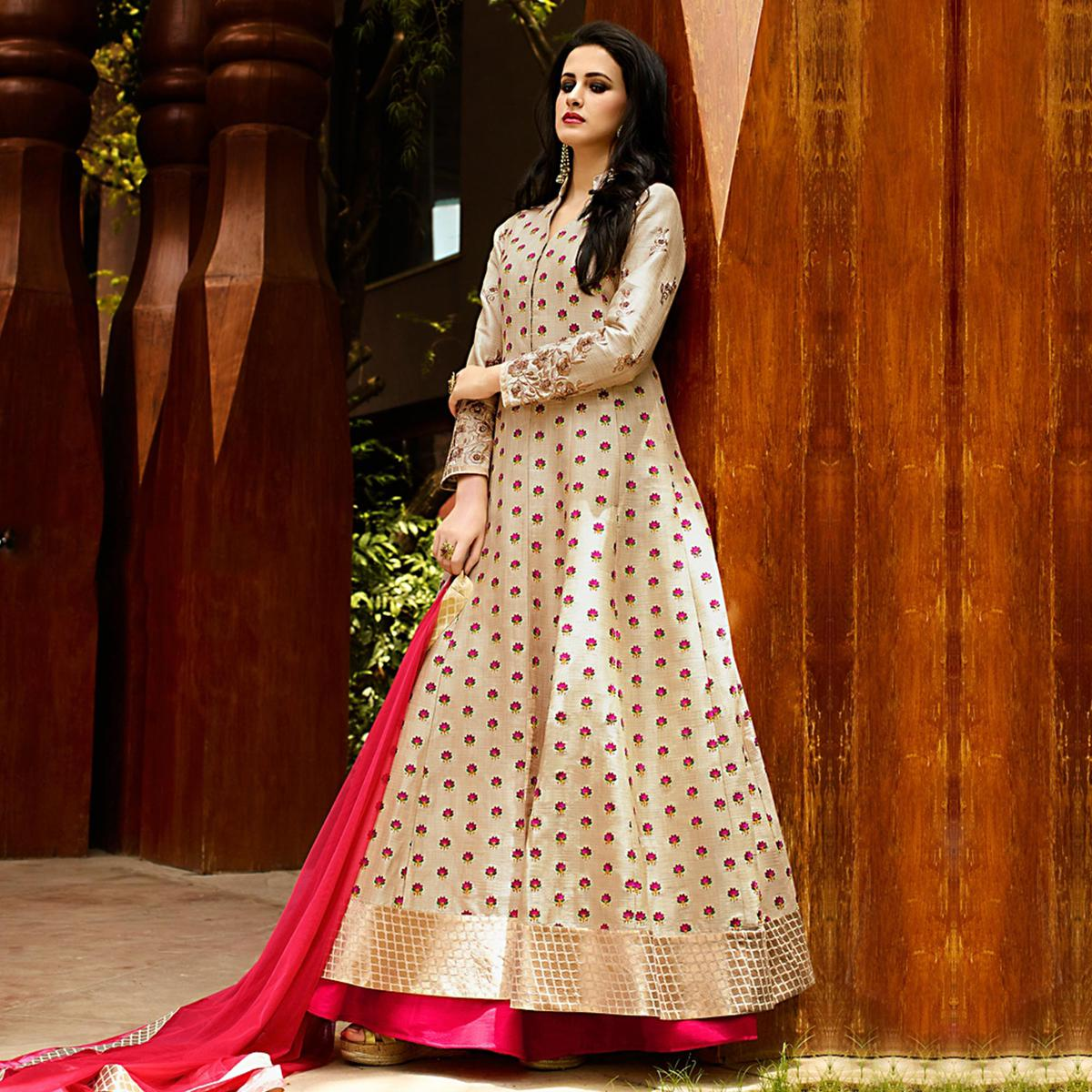 211fc6df4 Buy Beige Party Wear Lehenga Suit for womens online India, Best Prices,  Reviews - Peachmode