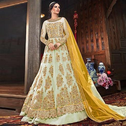 Hypnotic Mint Green Colored Partywear Embroidered Netted Lehenga Anarkali