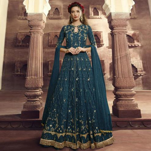 Prominent Teal Blue Colored Partywear Embroidered Netted Anarkali Suit
