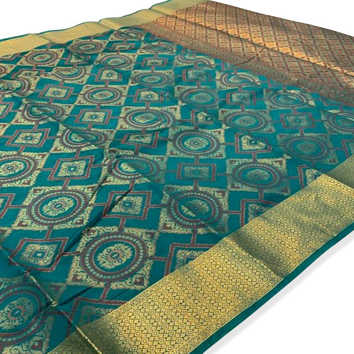 Hypnotic Rama Green Colored Festive Wear Woven Silk Saree