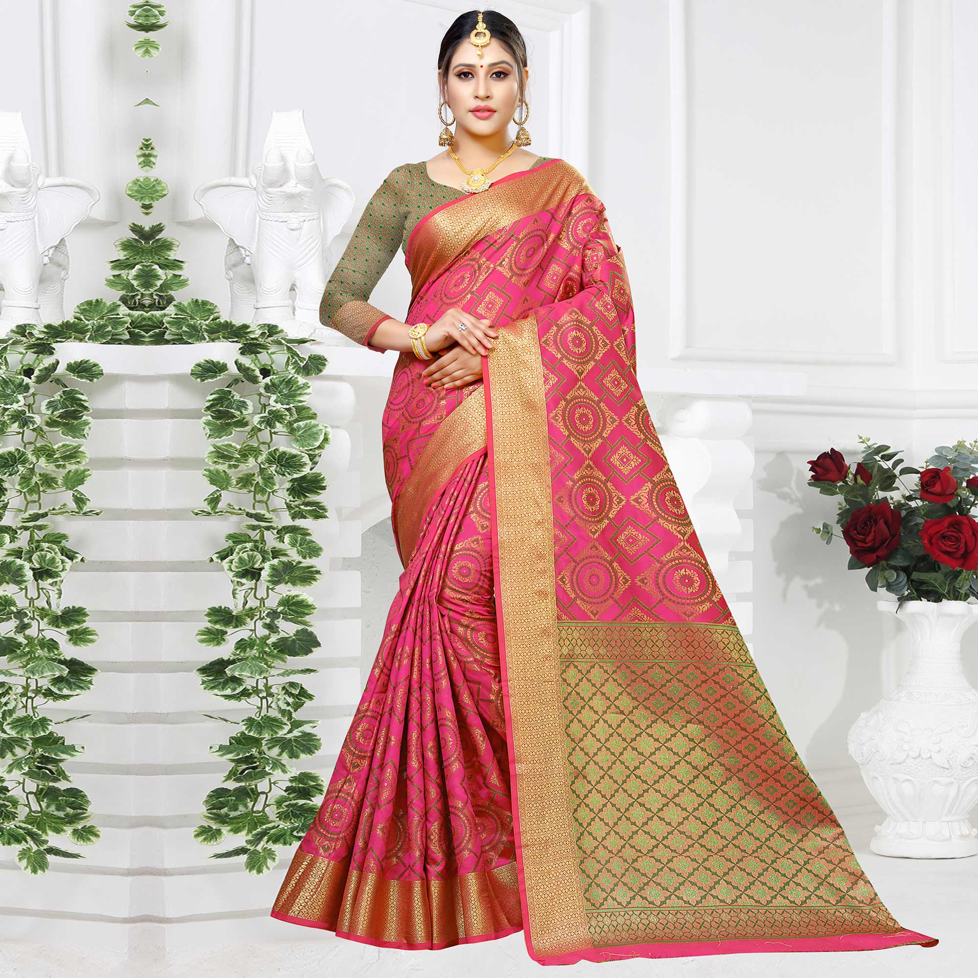 Marvellous Pink Colored Festive Wear Woven Silk Saree