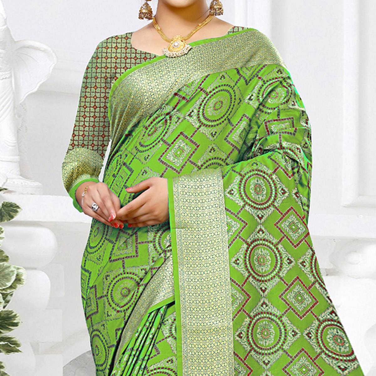 Majesty Light Green Colored Festive Wear Woven Silk Saree
