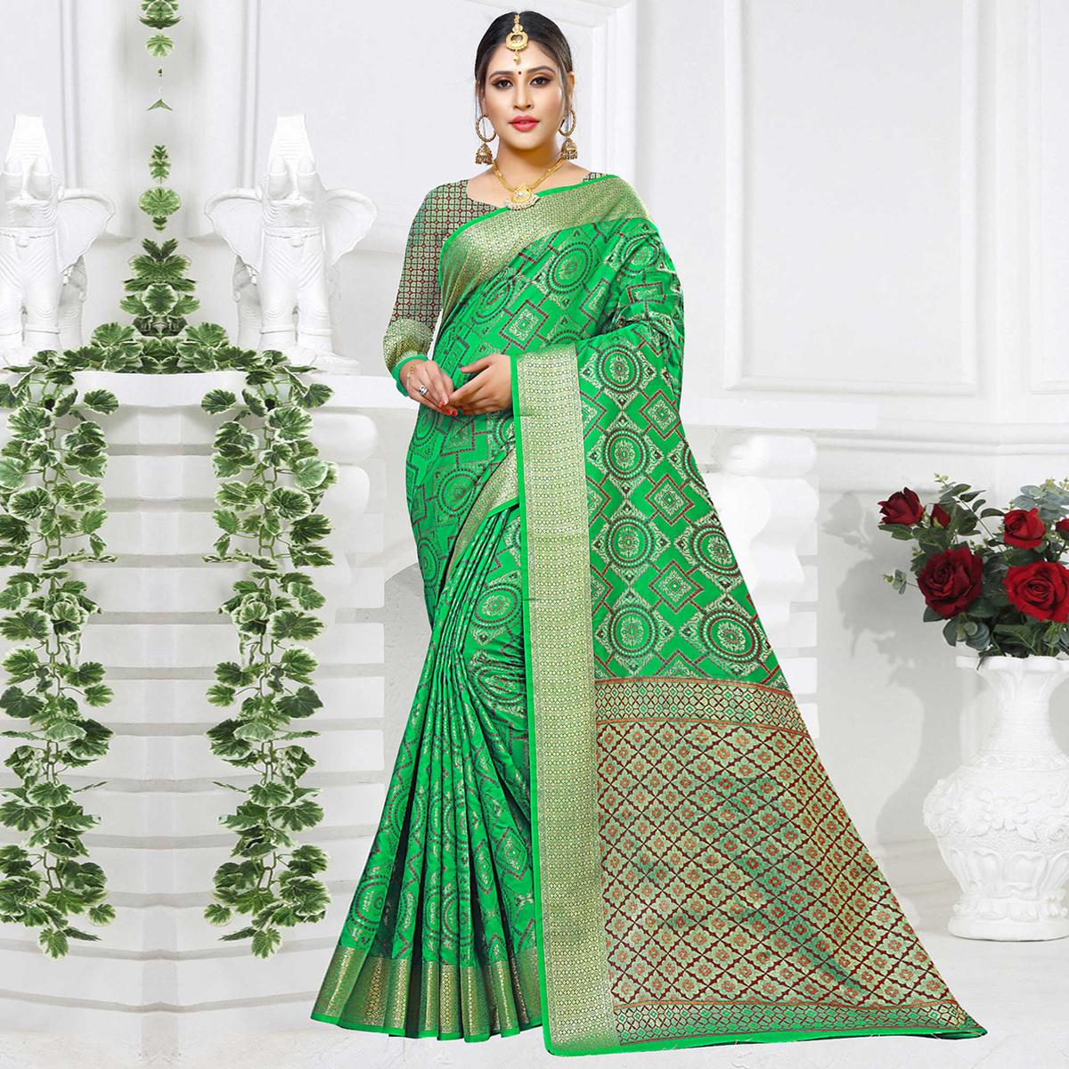 Classy Green Colored Festive Wear Woven Silk Saree