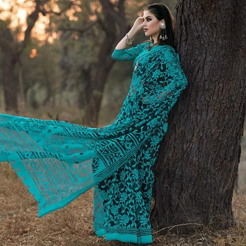Adorable Turquoise Colored Casual Wear Printed Brasso Saree