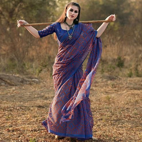 Glorious Blue Colored Casual Wear Printed Brasso Saree