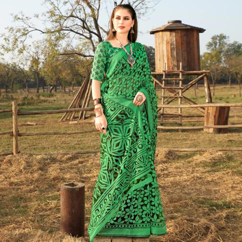 Attractive Green Colored Casual Wear Printed Brasso Saree