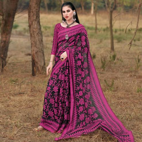 Beautiful Black & Pink Colored Casual Wear Printed Brasso Saree