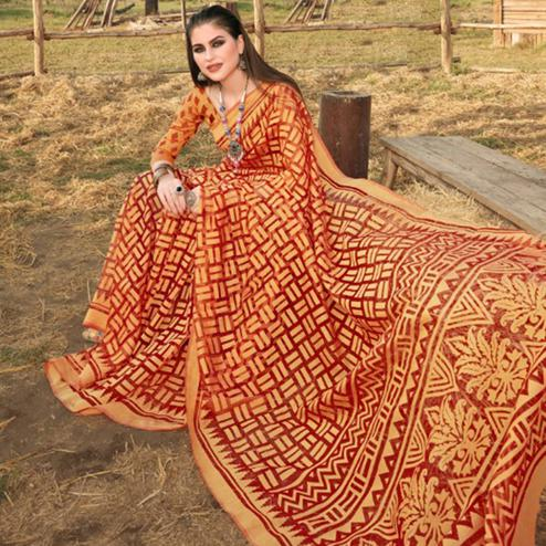 Graceful Red & Orange Colored Casual Wear Printed Brasso Saree