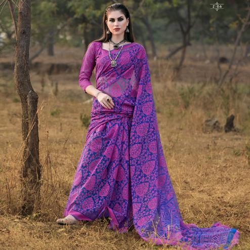Blooming Pink & Blue Colored Casual Wear Printed Brasso Saree