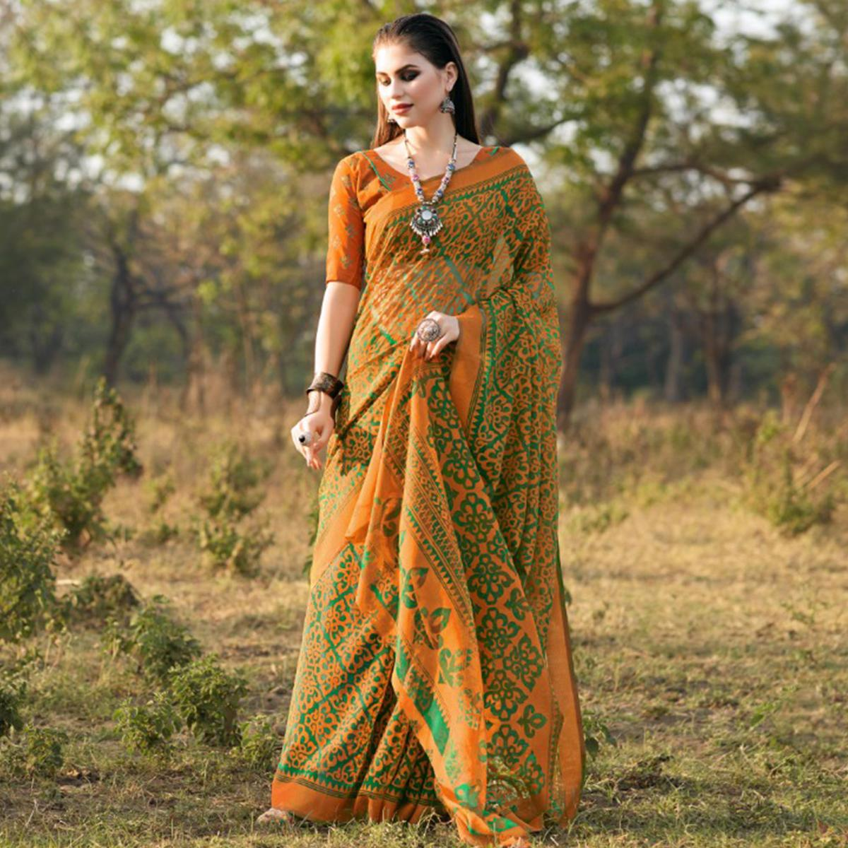 Charming Green & Orange Colored Casual Wear Printed Brasso Saree
