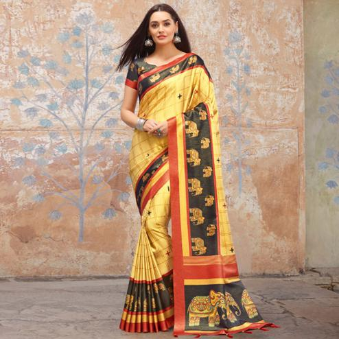 Fantastic Light Yellow Colored Casual Wear Printed Silk Blend Saree With Tassels