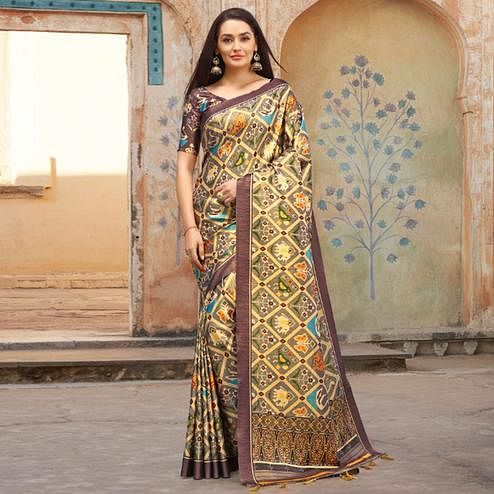 Amazing Multi Colored Casual Wear Printed Silk Blend Saree With Tassels
