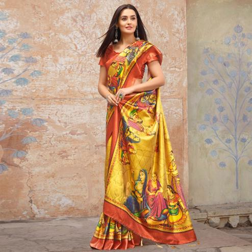 Gorgeous Yellow Colored Casual Wear Printed Silk Blend Saree With Tassels