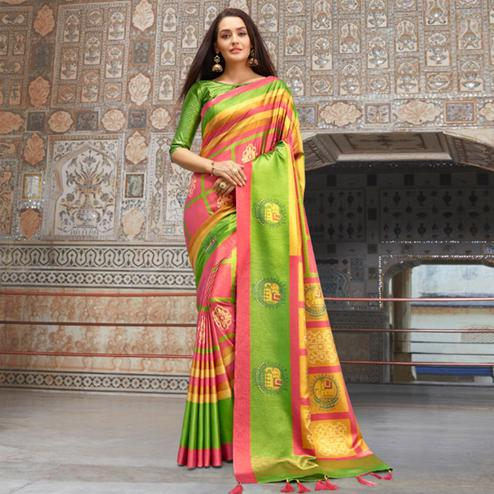 Blissful Pink Colored Casual Wear Printed Silk Blend Saree With Tassels
