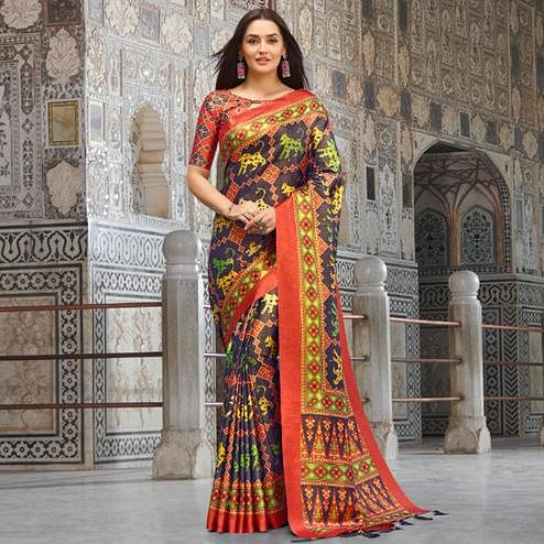 Ideal Navy Blue Colored Casual Wear Printed Silk Blend Saree With Tassels