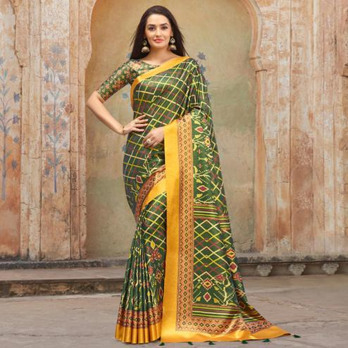 Imposing Olive Green Colored Casual Wear Printed Silk Blend Saree With Tassels