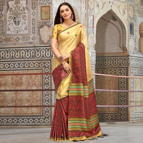 Lovely Beige & Muave Colored Casual Wear Printed Silk Blend Saree With Tassels