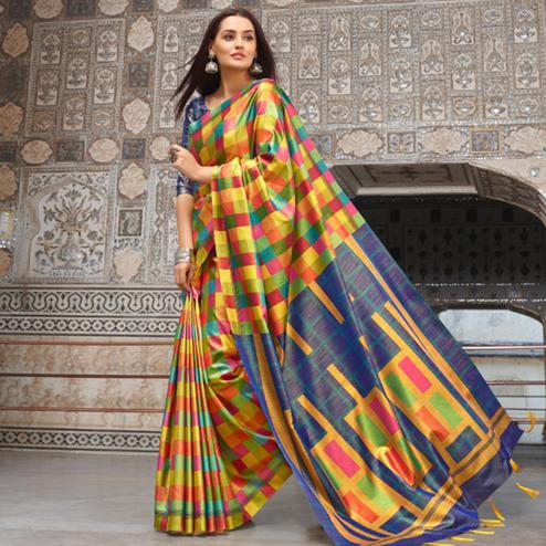 Majesty Multi Colored Casual Wear Printed Silk Blend Saree With Tassels