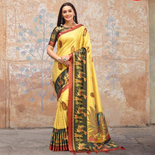 Unique Light Yellow Colored Casual Wear Printed Silk Blend Saree With Tassels