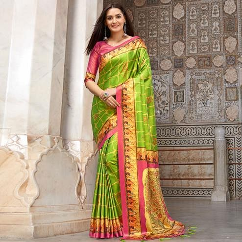 Hypnotic Green Colored Casual Wear Printed Silk Blend Saree With Tassels
