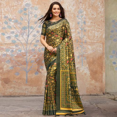Flattering Grey Colored Casual Wear Printed Silk Blend Saree With Tassels