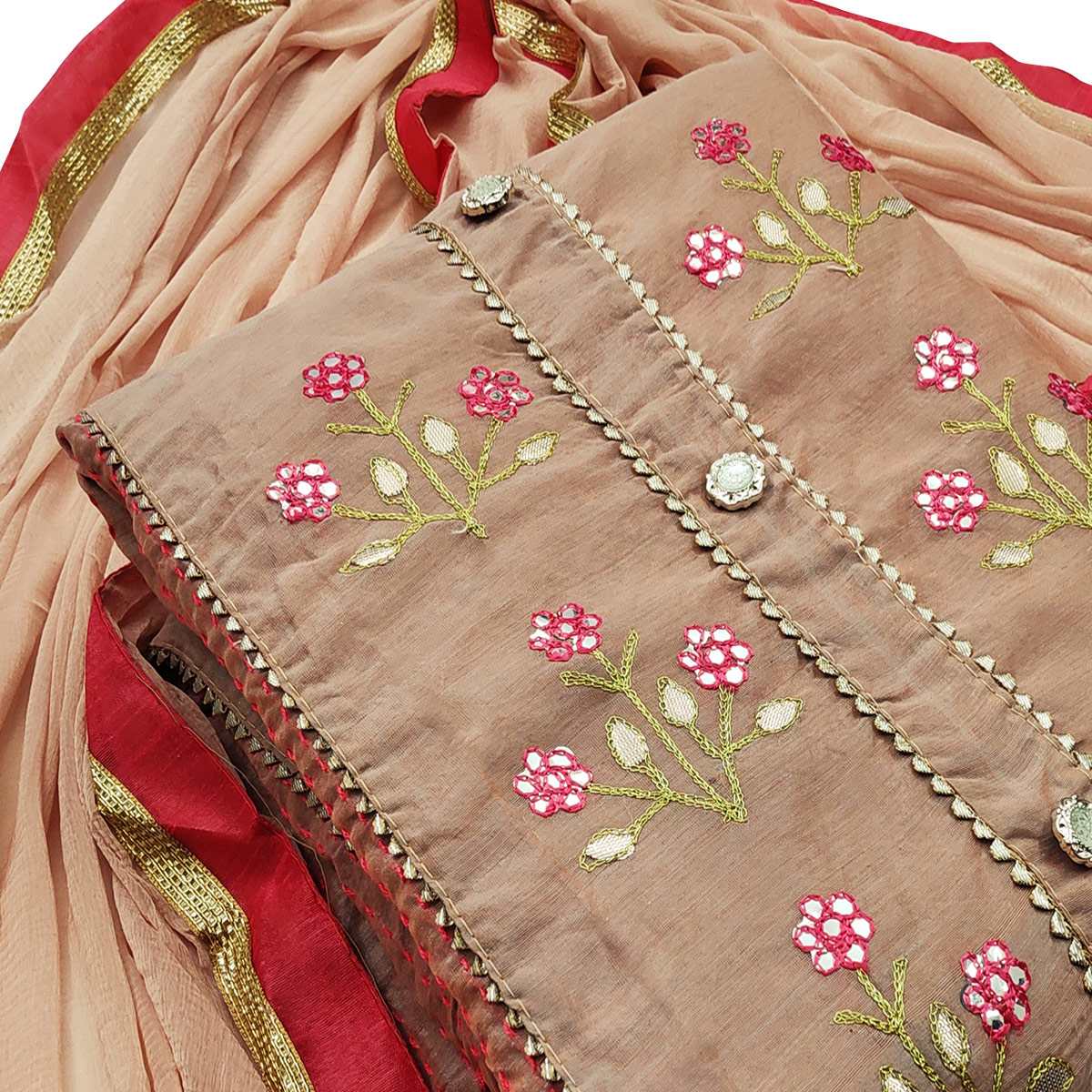 Classy Mauve Colored Party Wear Embroidered Modal Dress Material