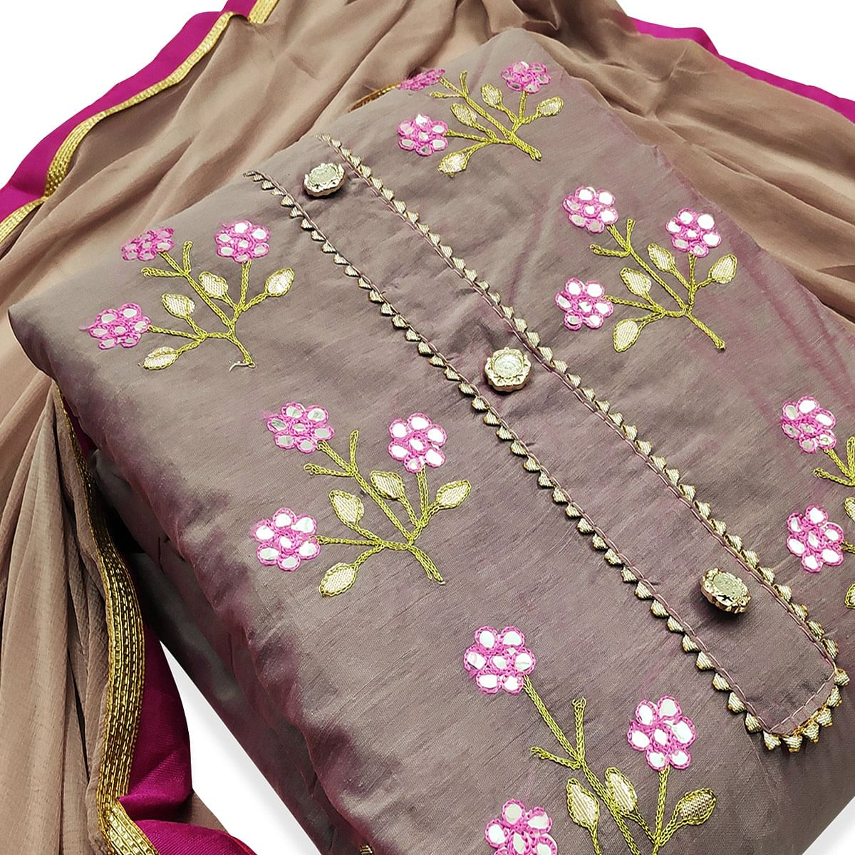 Adorable Purple Colored Party Wear Embroidered Modal Dress Material