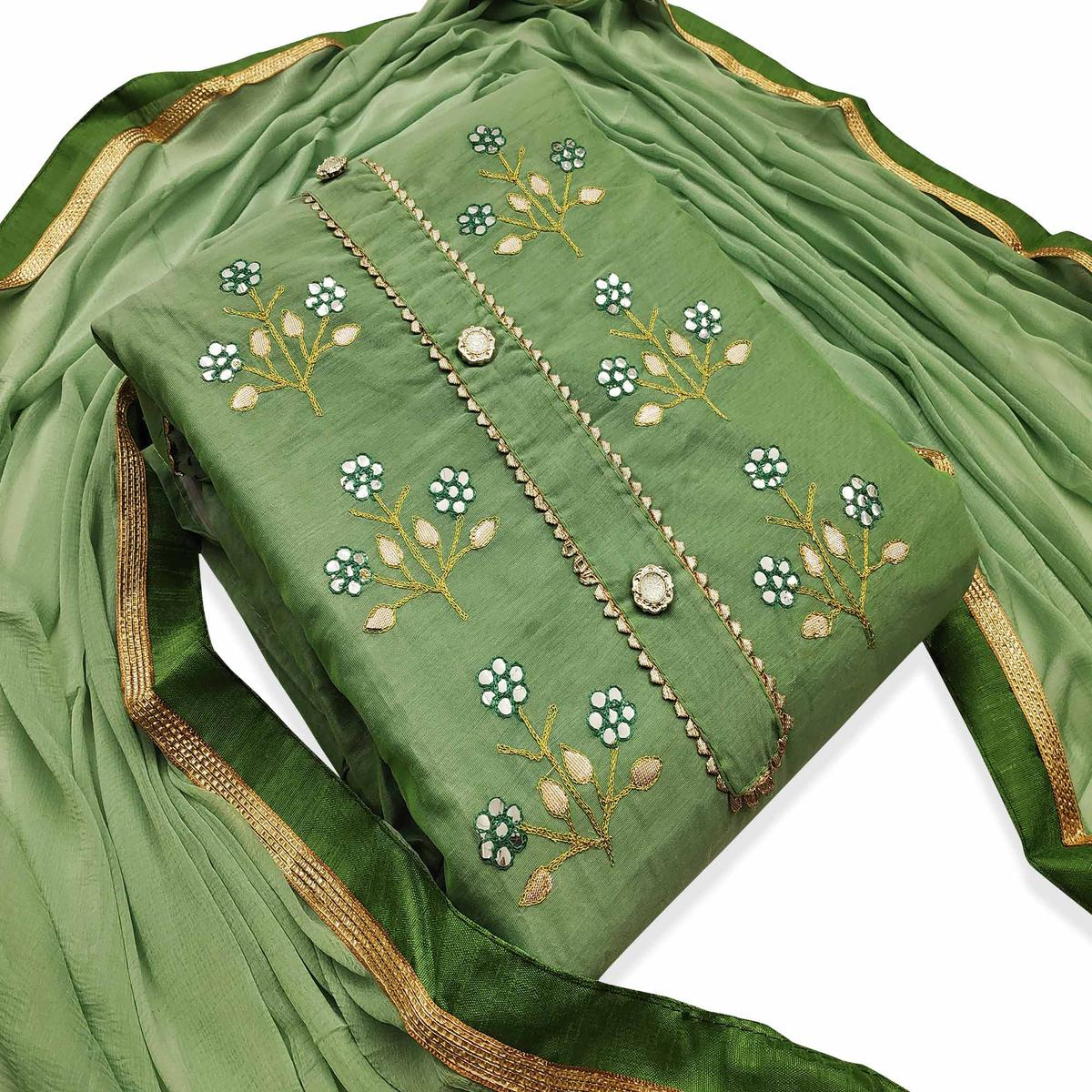 Glorious Green Colored Party Wear Embroidered Modal Dress Material