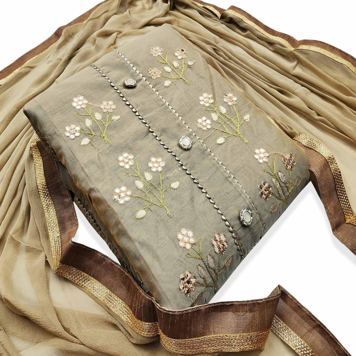 Exotic Light Brown Colored Casual Wear Embroidered Modal Dress Material