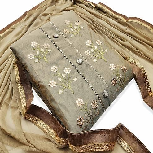 Exotic Light Brown Colored Party Wear Embroidered Modal Dress Material