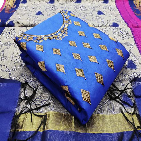 Trendy Blue Colored Party Wear Embroidered Cotton Dress Material