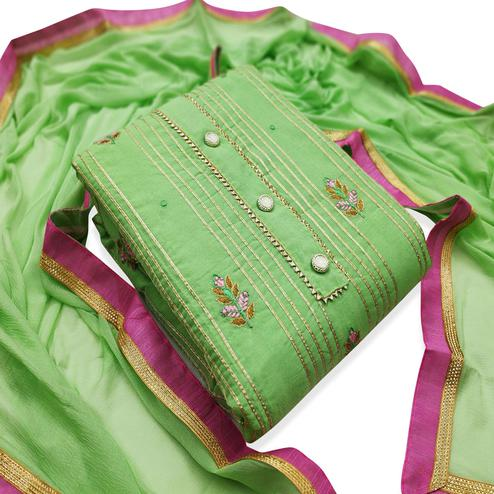 Gleaming Green Colored Party Wear Embroidered Modal Dress Material