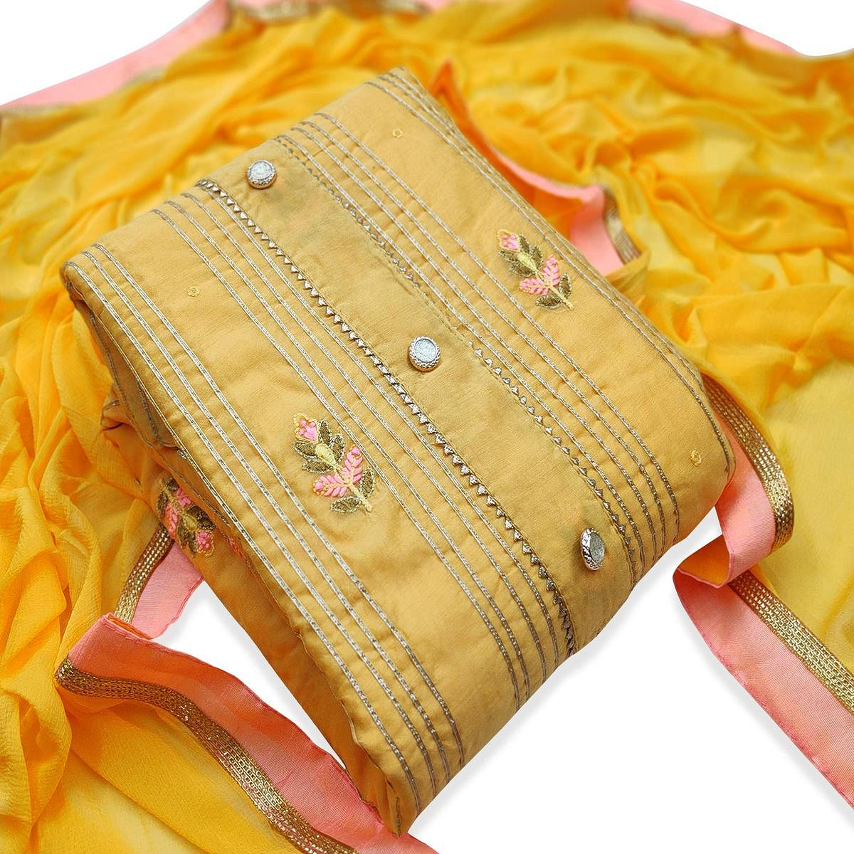 Mesmeric Yellow Colored Party Wear Embroidered Modal Dress Material