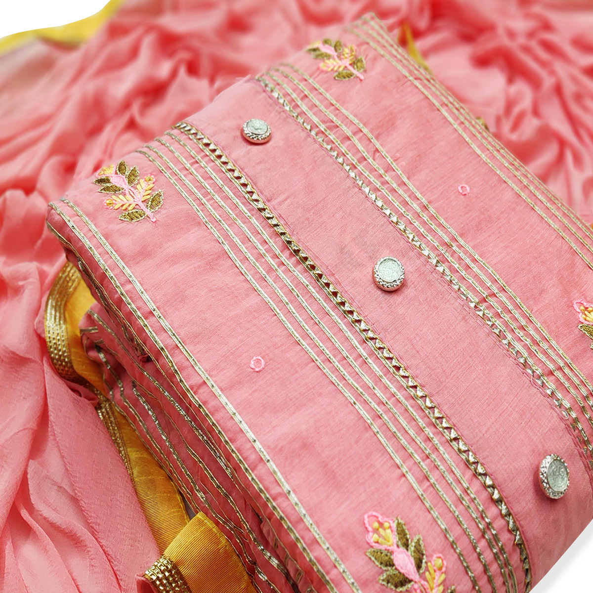 Unique Peach Colored Party Wear Embroidered Modal Dress Material
