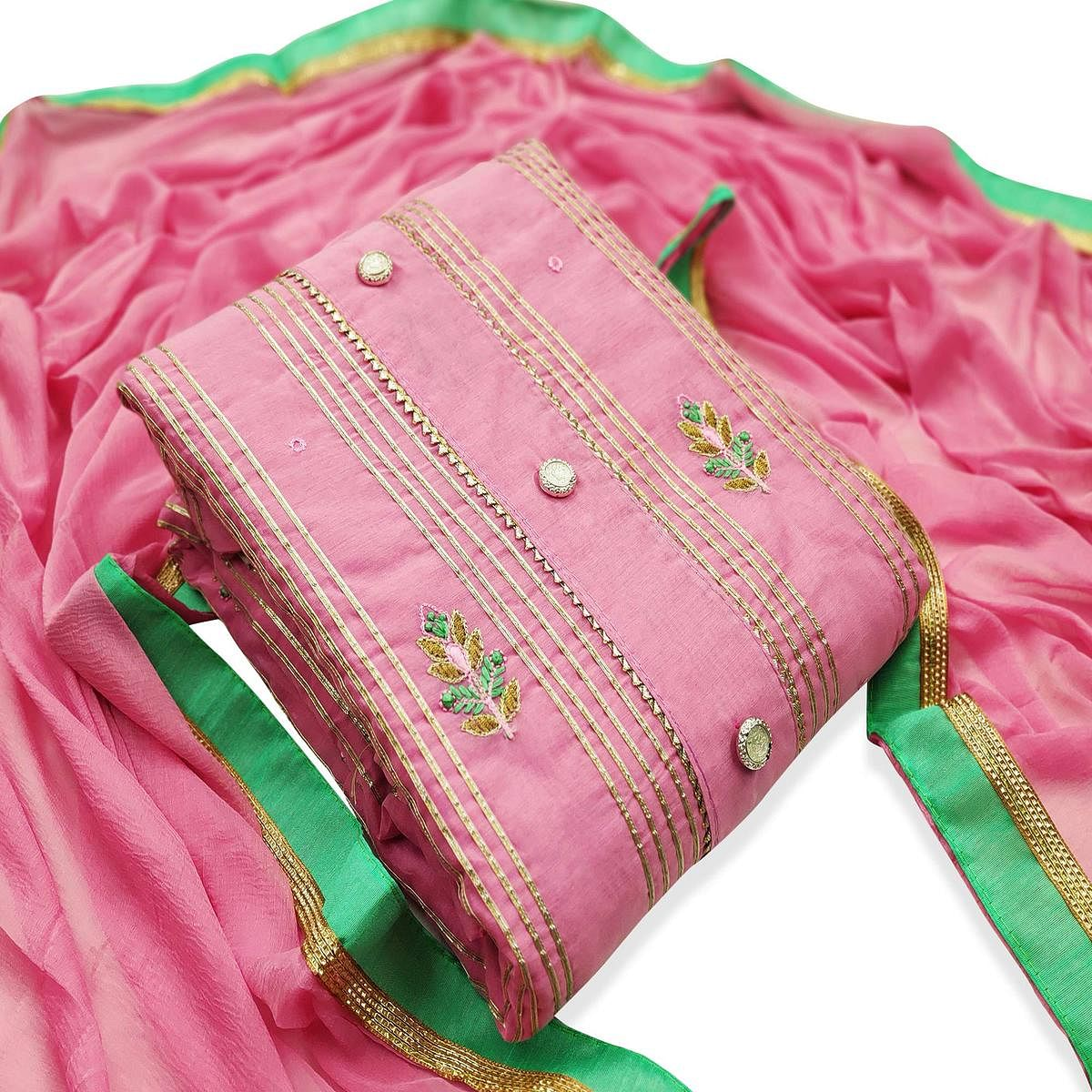 Hypnotic Pink Colored Party Wear Embroidered Modal Dress Material