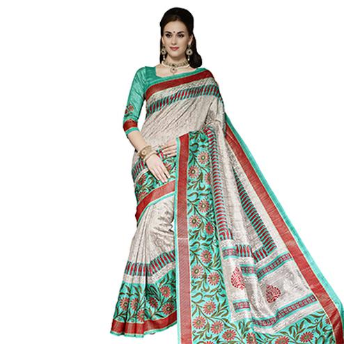 Grey - Green Casual Wear Saree