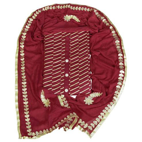 Attractive Maroon Colored Partywear Gotta Patti Worked Glass Cotton Dress Material
